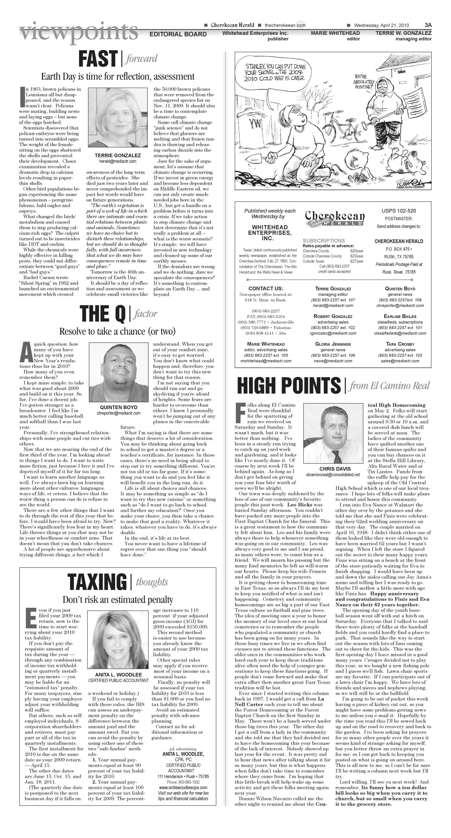 Cherokeean Herald (Rusk, Tex.), Vol. 161, No. 9, Ed. 1 Wednesday, April 21, 2010                                                                                                      [Sequence #]: 3 of 16