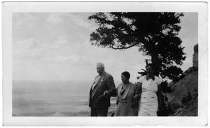 Primary view of object titled '[Col. Hugh B. and Helen Moore and Mrs. Crawford taking a walk]'.
