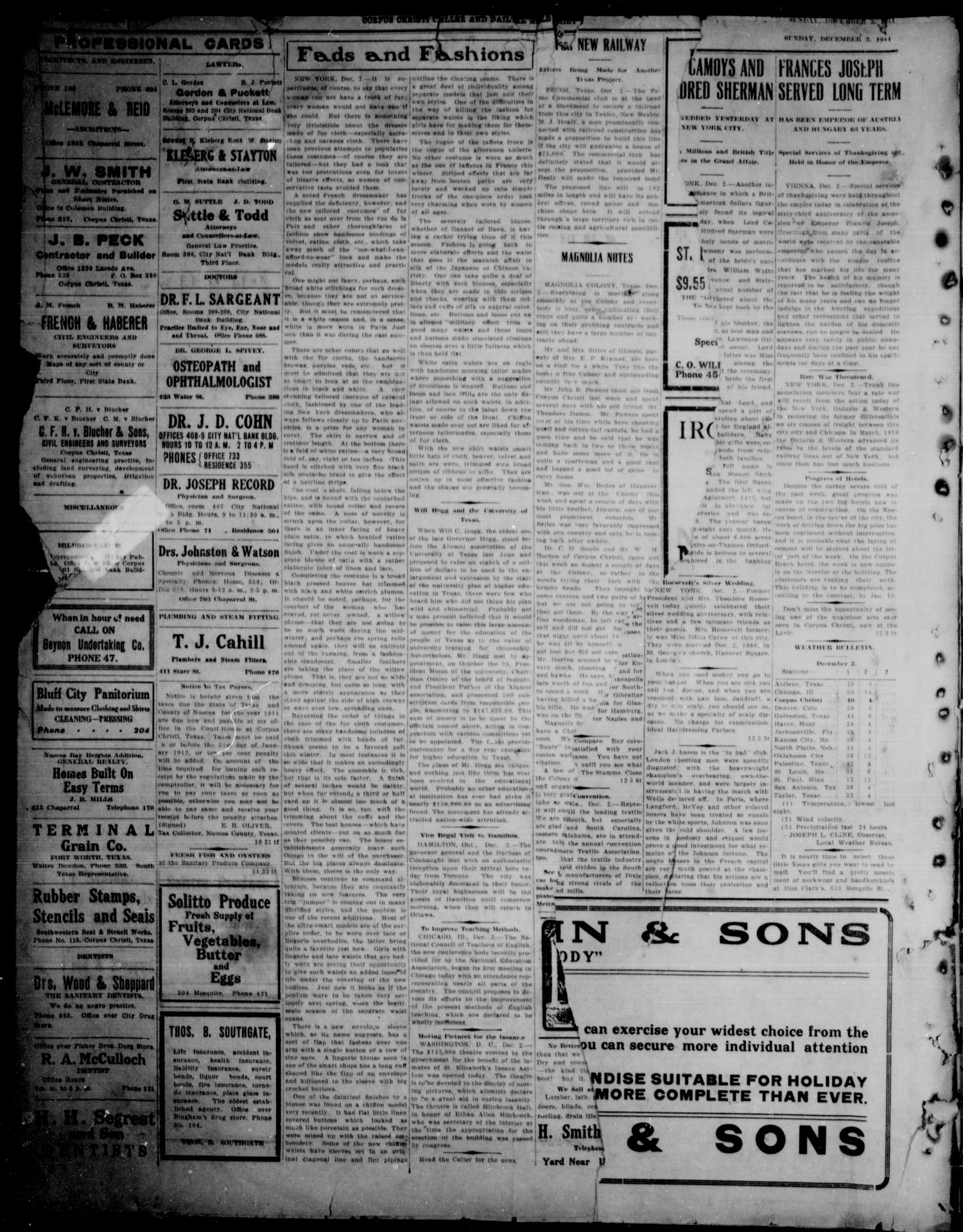 Corpus Christi Caller and Daily Herald (Corpus Christi, Tex.), Vol. 13, No. 10, Ed. 1, Tuesday, December 5, 1911                                                                                                      [Sequence #]: 1 of 9