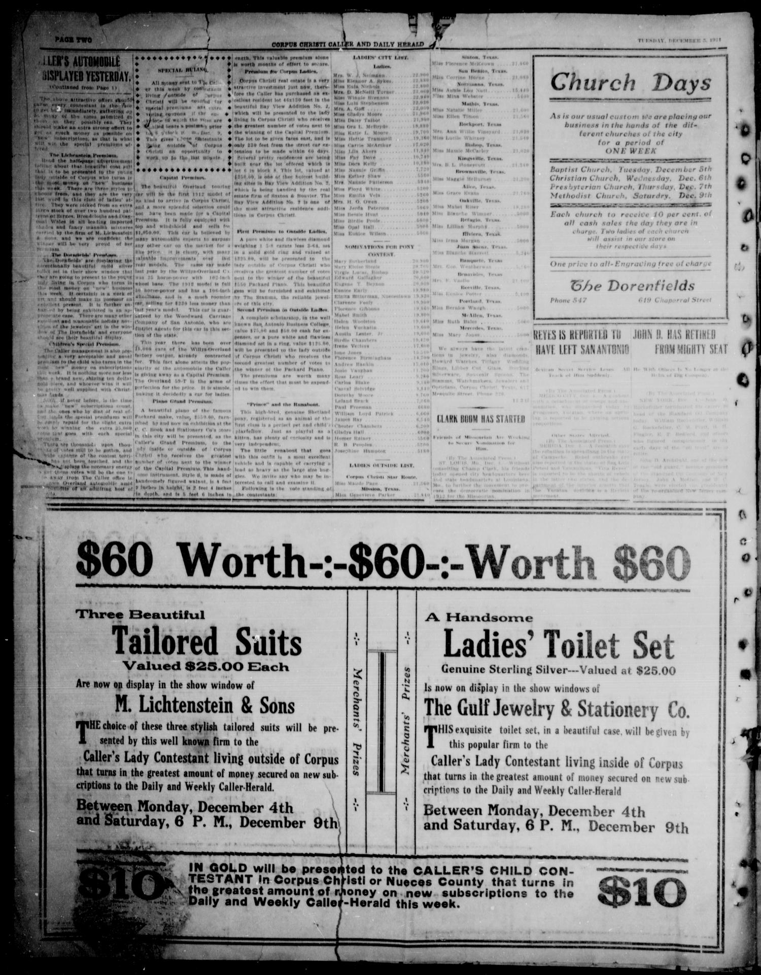 Corpus Christi Caller and Daily Herald (Corpus Christi, Tex.), Vol. 13, No. 10, Ed. 1, Tuesday, December 5, 1911                                                                                                      [Sequence #]: 3 of 9