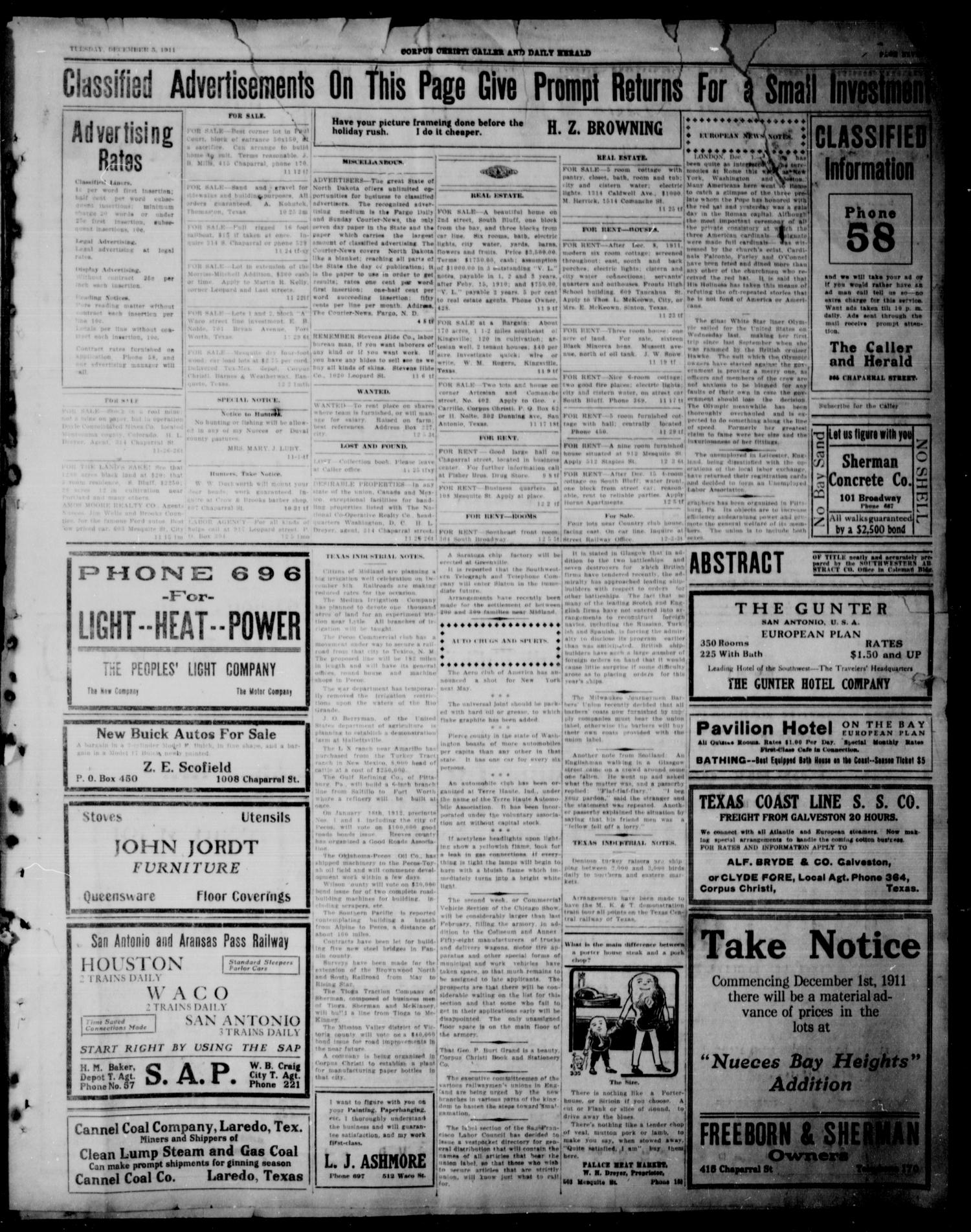 Corpus Christi Caller and Daily Herald (Corpus Christi, Tex.), Vol. 13, No. 10, Ed. 1, Tuesday, December 5, 1911                                                                                                      [Sequence #]: 8 of 9