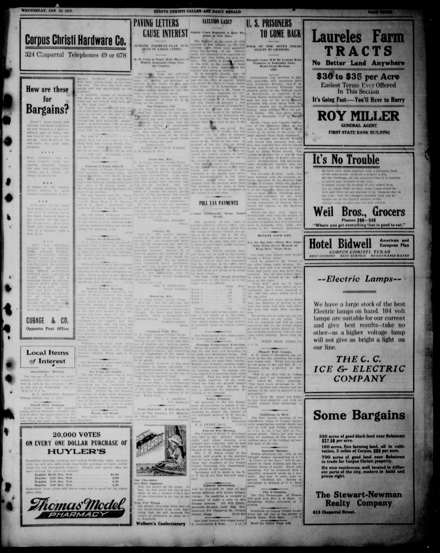 Corpus Christi Caller and Daily Herald (Corpus Christi, Tex.), Vol. THIRTEEN, No. FORTY, Ed. 1, Wednesday, January 10, 1912                                                                                                      [Sequence #]: 3 of 6