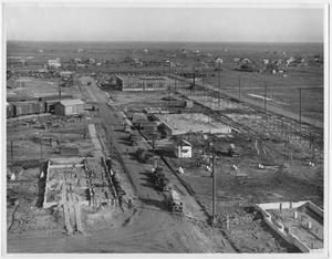 Primary view of object titled '[An aerial view of construction in Texas City in 1934]'.
