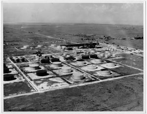 [An aerial view of the American Oil storage tank farm in Texas City in 1935]