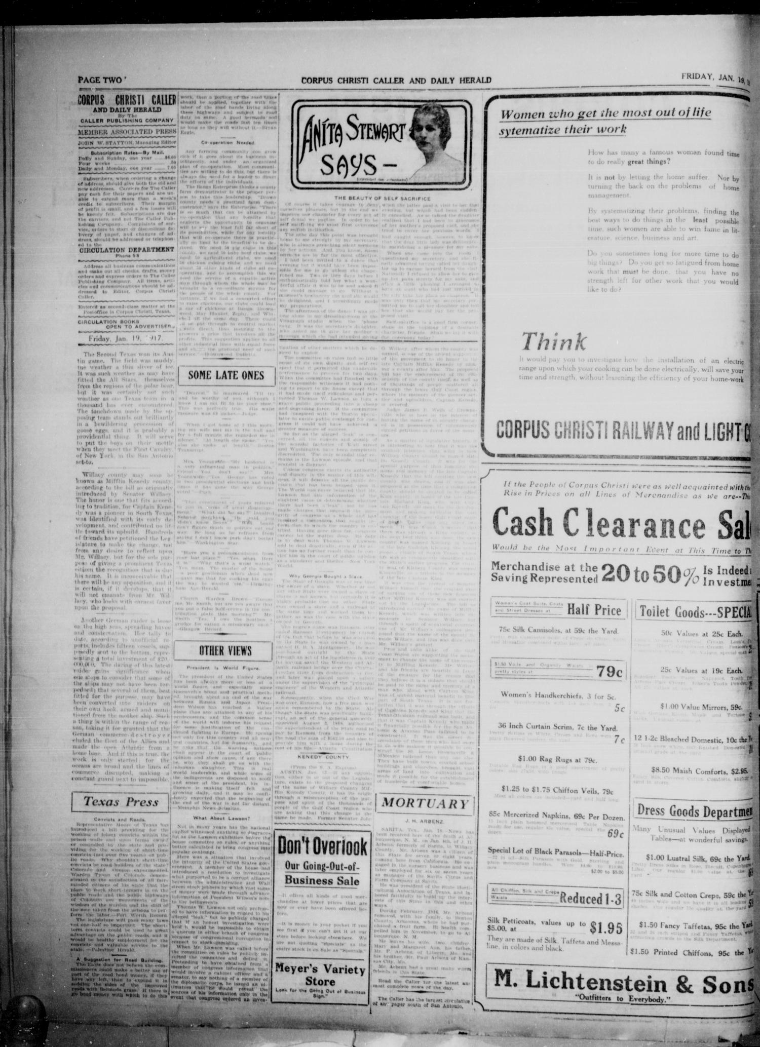 Corpus Christi Caller and Daily Herald (Corpus Christi, Tex.), Vol. 19, No. 36, Ed. 1, Friday, January 19, 1917                                                                                                      [Sequence #]: 2 of 6