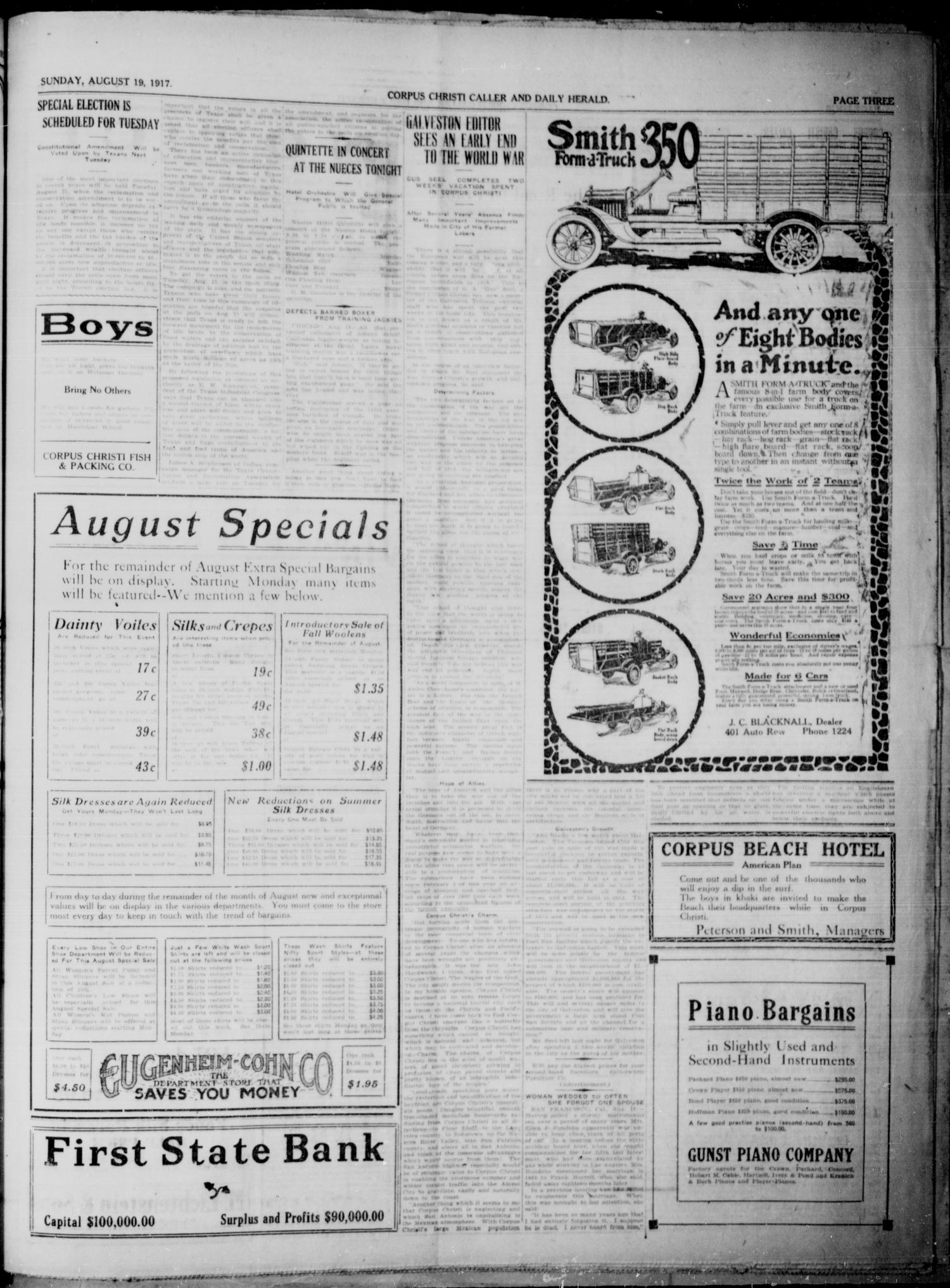 Corpus Christi Caller and Daily Herald (Corpus Christi, Tex.), Vol. 19, No. 217, Ed. 1, Sunday, August 19, 1917                                                                                                      [Sequence #]: 3 of 8