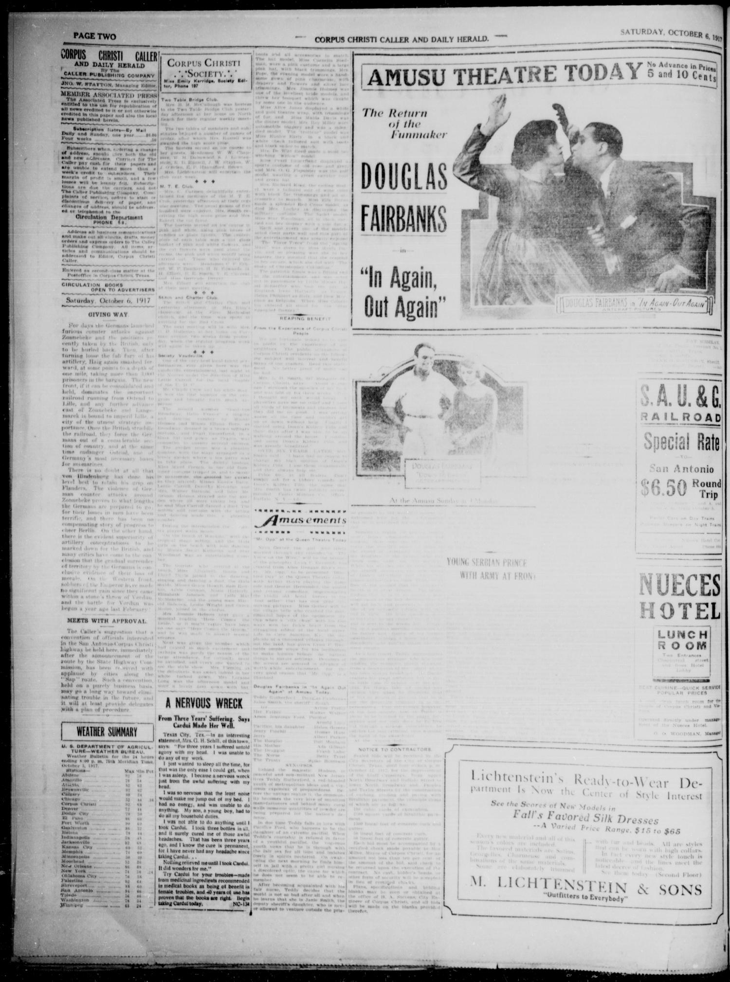 Corpus Christi Caller and Daily Herald (Corpus Christi, Tex.), Vol. 19, No. 258, Ed. 1, Saturday, October 6, 1917                                                                                                      [Sequence #]: 2 of 4