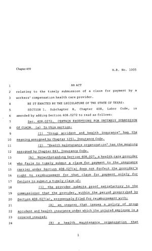 Primary view of object titled '80th Texas Legislature, Regular Session, House Bill 1005, Chapter 459'.