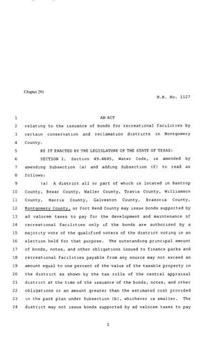 Primary view of object titled '80th Texas Legislature, Regular Session, House Bill 1127, Chapter 291'.