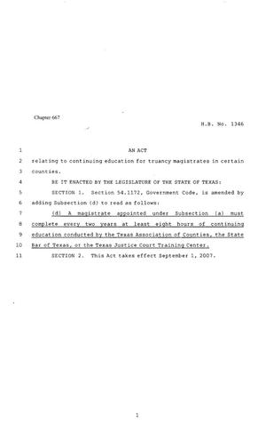Primary view of object titled '80th Texas Legislature, Regular Sesion, House Bill 1346, Chapter 667'.
