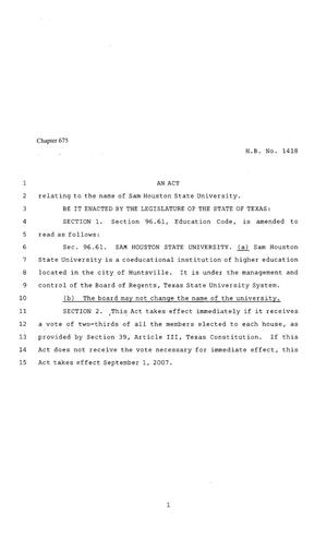 Primary view of object titled '80th Texas Legislature, Regular Session, House Bill 1418, Chapter 675'.