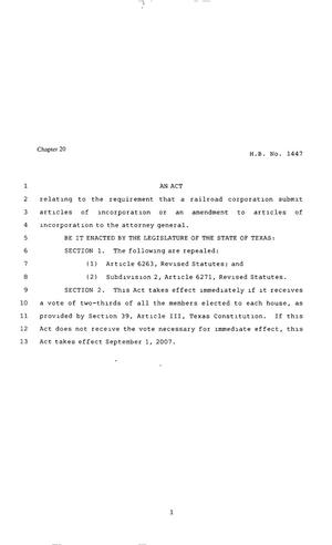 Primary view of object titled '80th Texas Legislature, Regular Session, House Bill 1447, Chapter 20'.