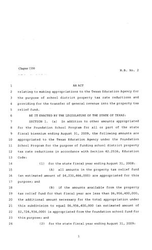 Primary view of object titled '80th Texas Legislature, Regular Session, House Bill 2, Chapter 1350'.