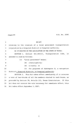 Primary view of object titled '80th Texas Legislture, Regular Session, House Bill 2090, Chapter 241'.