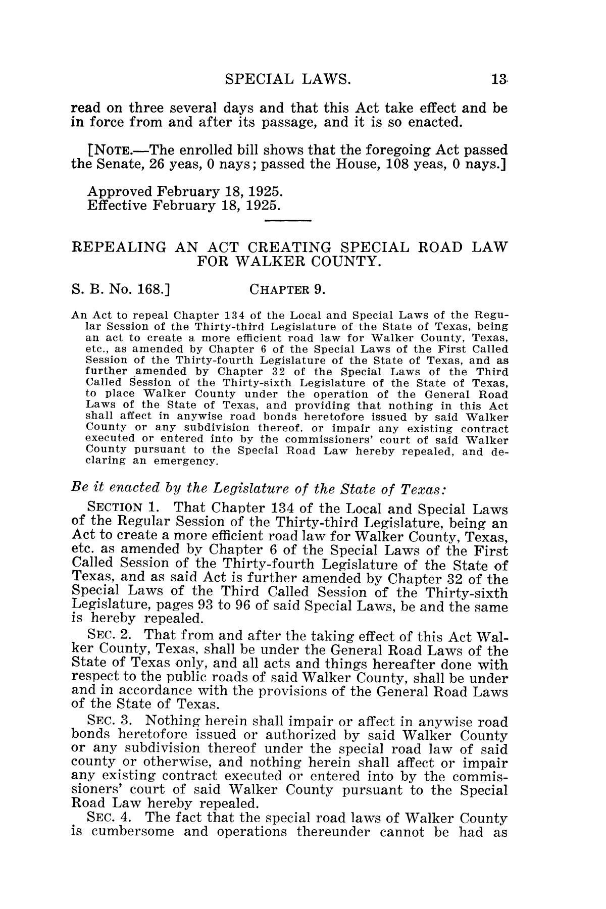 The Laws of Texas, 1925 [Volume 23]                                                                                                      [Sequence #]: 25 of 822