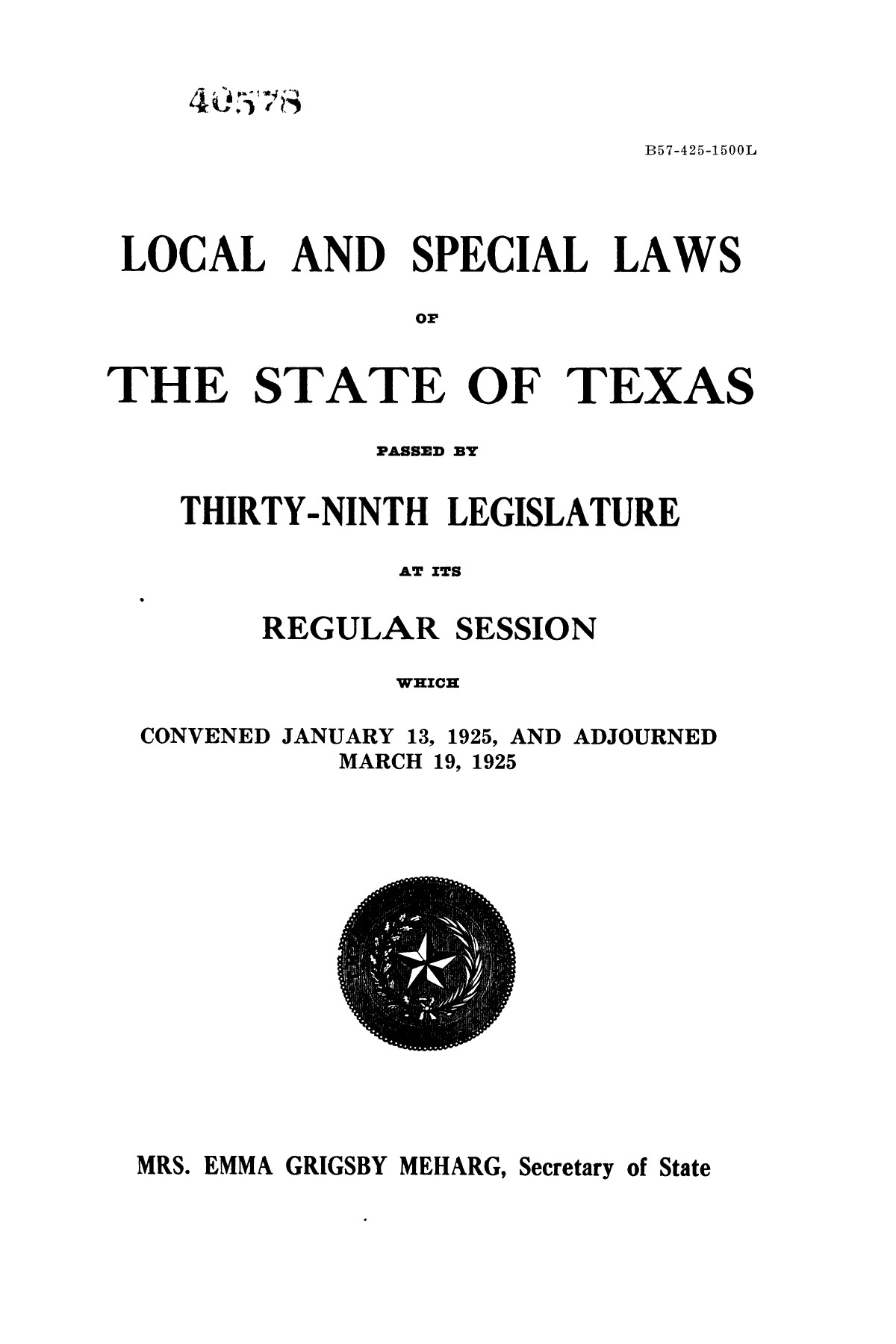 The Laws of Texas, 1925 [Volume 23]                                                                                                      [Sequence #]: 3 of 822