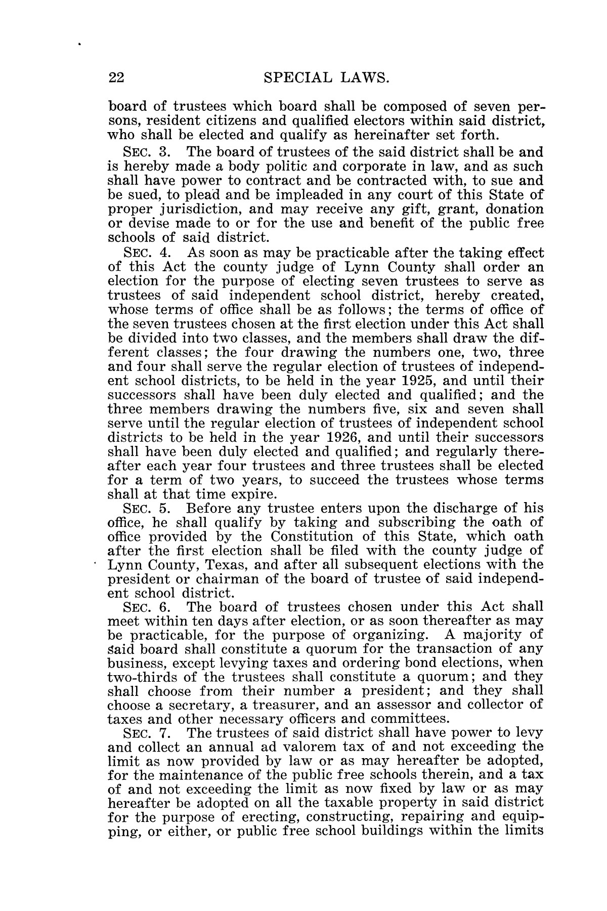 The Laws of Texas, 1925 [Volume 23]                                                                                                      [Sequence #]: 34 of 822