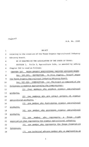 Primary view of object titled '80th Texas Legislature, Regular Session, House Bill 2345, Chapter 477'.