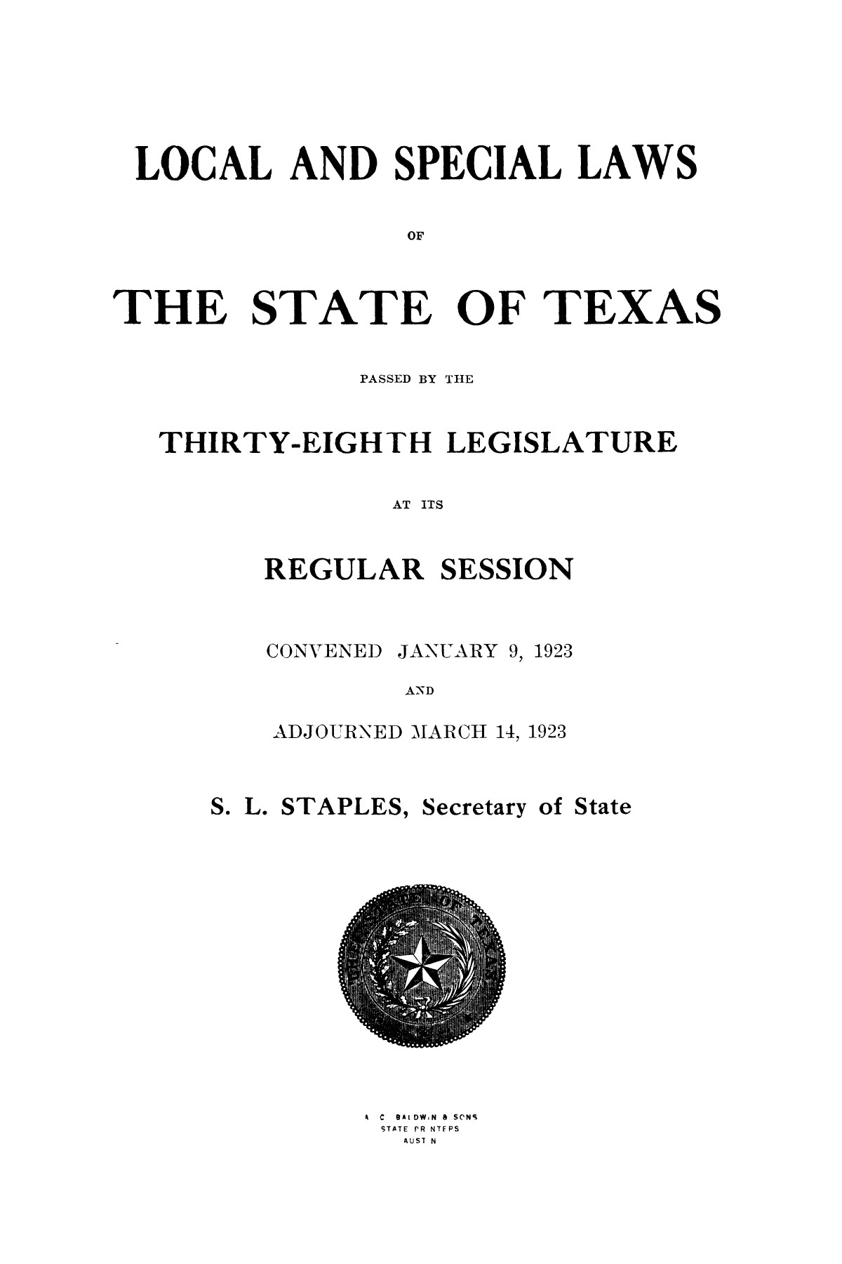 The Laws of Texas, 1923-1925 [Volume 22]                                                                                                      [Sequence #]: 11 of 1648