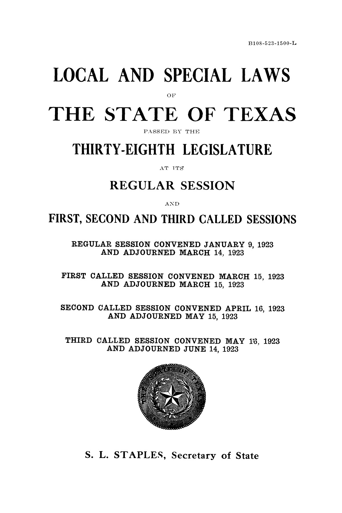 The Laws of Texas, 1923-1925 [Volume 22]                                                                                                      [Sequence #]: 3 of 1648