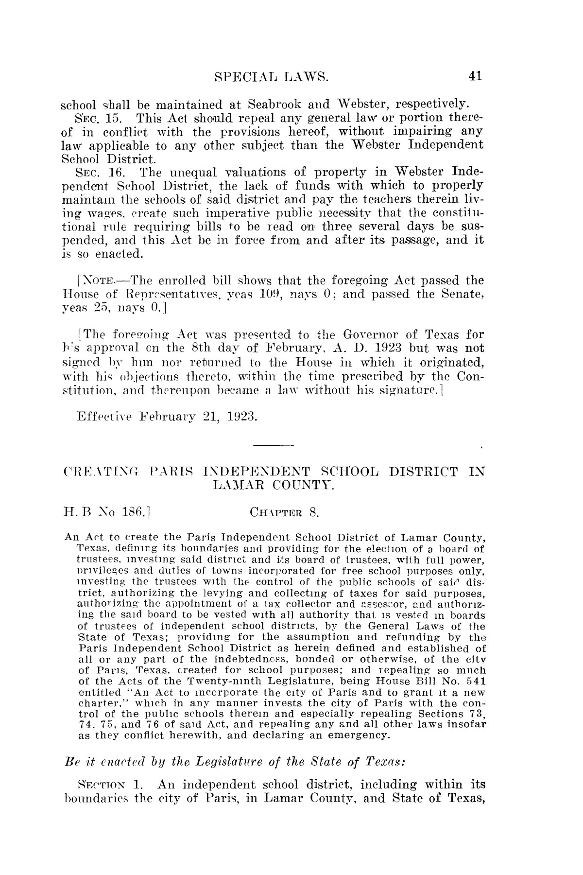 The Laws of Texas, 1923-1925 [Volume 22]                                                                                                      [Sequence #]: 51 of 1648