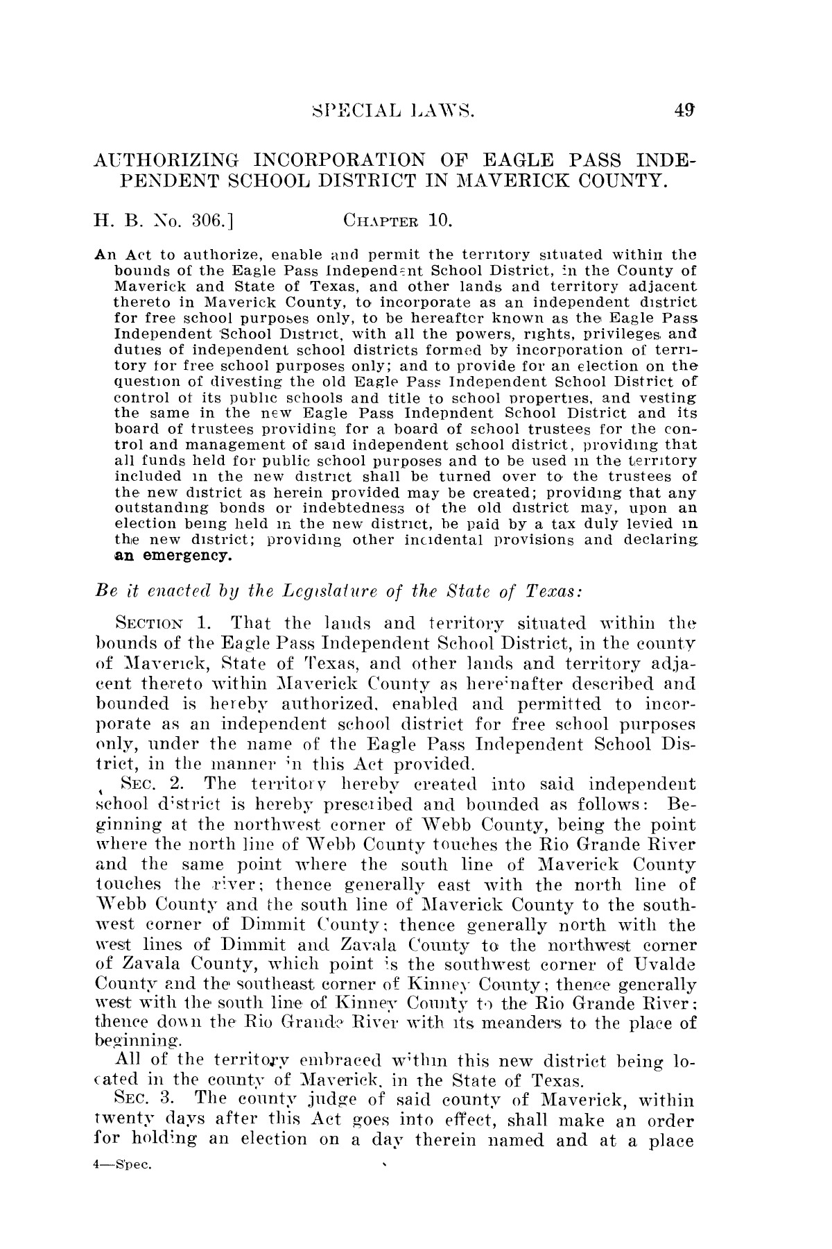 The Laws of Texas, 1923-1925 [Volume 22]                                                                                                      [Sequence #]: 59 of 1648