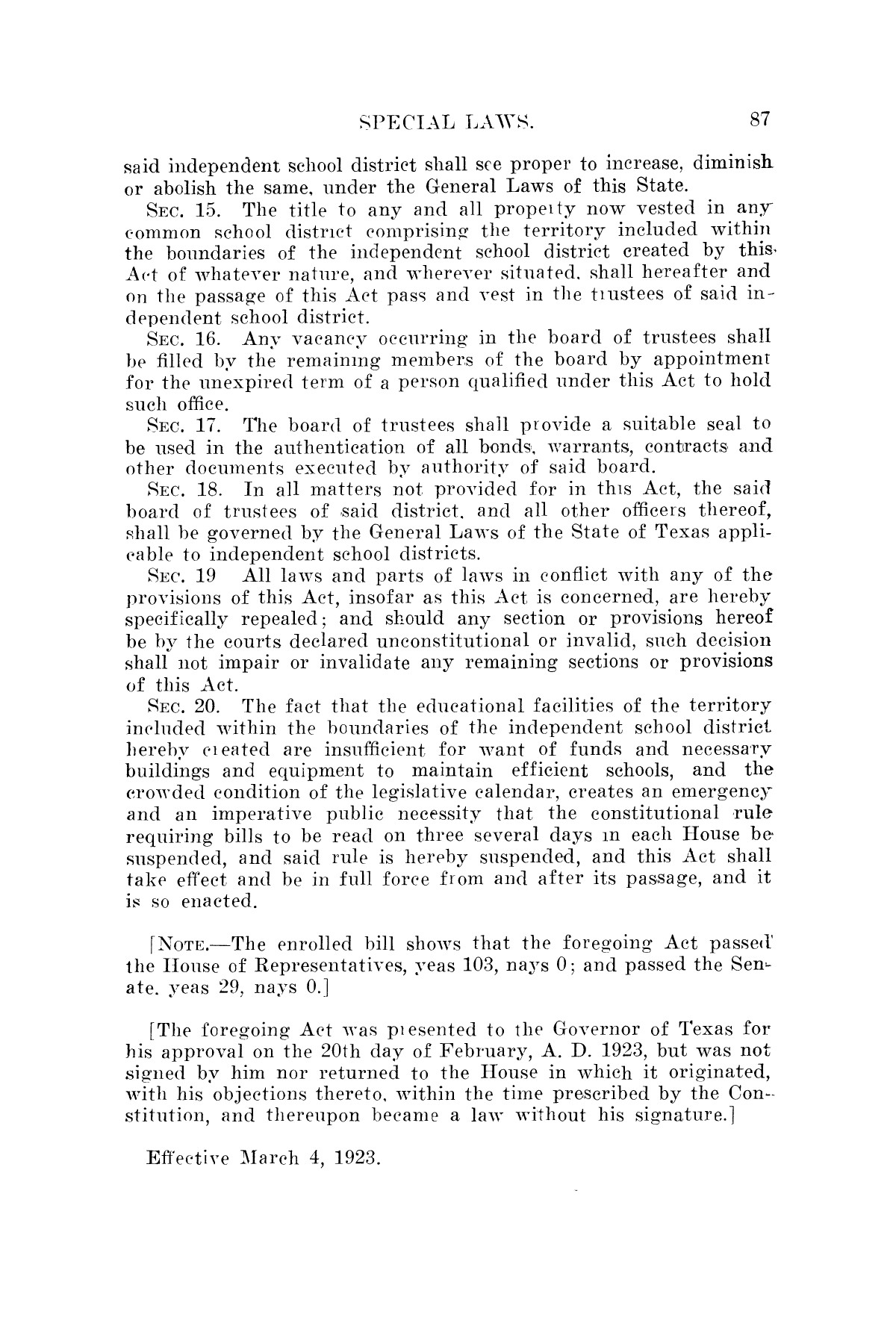The Laws of Texas, 1923-1925 [Volume 22]                                                                                                      [Sequence #]: 97 of 1648