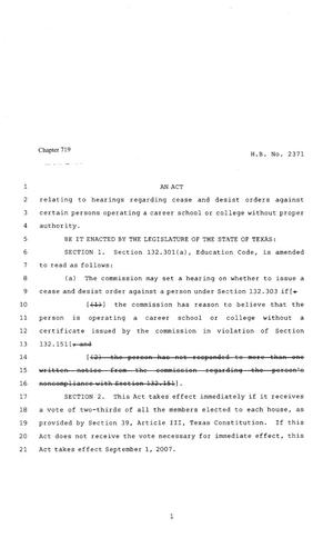 Primary view of object titled '80th Texas Legislature, Regular Session, House Bill 2371, Chapter 719'.