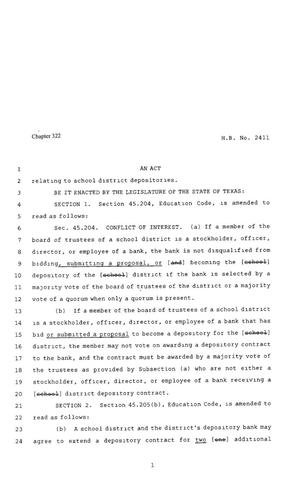 Primary view of object titled '80th Texas Legislature, Regular Session, House Bill 2411, Chapter 322'.