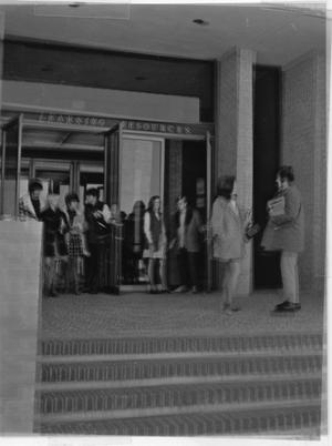 Primary view of object titled 'TCJC Students on the Steps of the Library'.