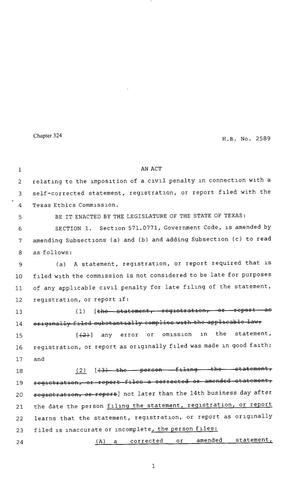 Primary view of object titled '80th Texas Legislature, Regular Session, House Bill 2589, Chapter 324'.