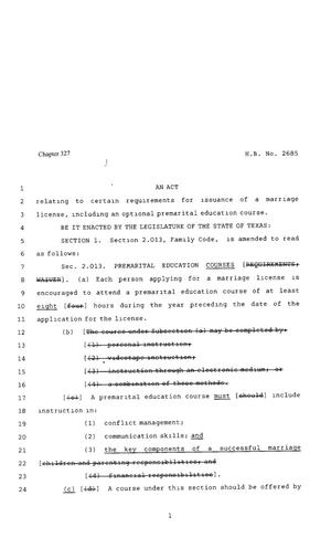 Primary view of object titled '80th Texas Legislature, Regular Session, House Bill 2685, Chapter 327'.
