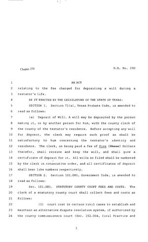 Primary view of 80th Texas Legislature, Regular Session, House Bill 290, Chapter 275