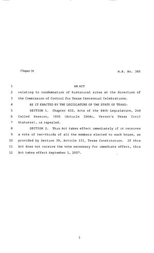 Primary view of object titled '80th Texas Legislature, Regular Session, House Bill 385, Chapter 39'.