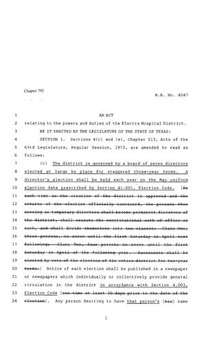 Primary view of object titled '80th Texas Legislature, Regular Session, House Bill 4047, Chapter 792'.