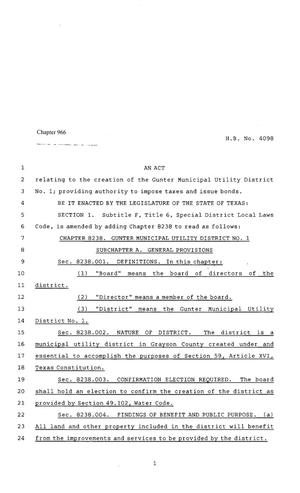 Primary view of object titled '80th Texas Legislature, Regular Session, House Bill 4098, Chapter 966'.