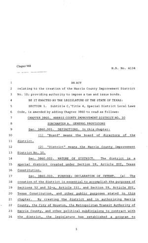 Primary view of object titled '80th Texas Legislature, Regular Session, House Bill 4134, Chapter 968'.