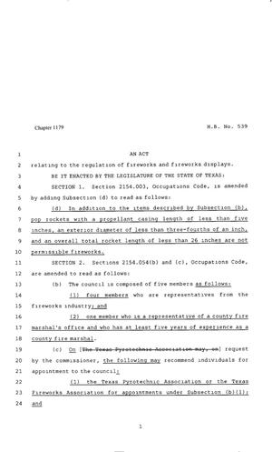 Primary view of object titled '80th Texas Legislature, Regular Session, House Bill 539, Chapter 1179'.