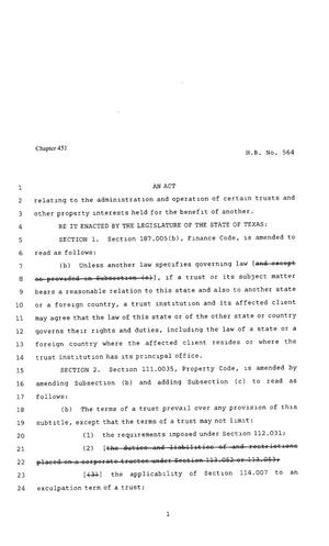 Primary view of object titled '80th Texas Legislature, Regular Session, House Bill 564, Chapter 451'.