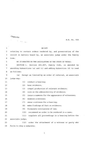 Primary view of object titled '80th Texas Legislature, Regular Session, House Bill 930, Chapter 839'.