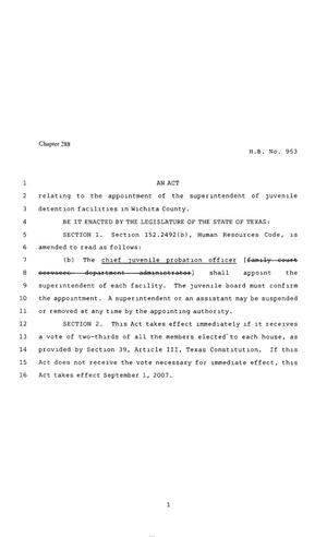 Primary view of object titled '80th Texas Legislature, Regular Session, House Bill 953, Chapter ##'.