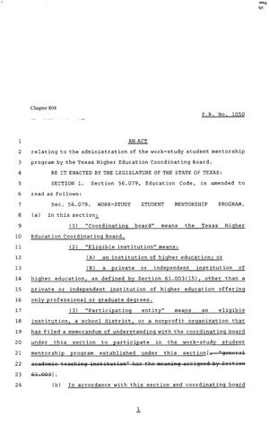 Primary view of object titled '80th Texas Legislature, Regular Session, Senate Bill 1050, Chapter 804'.