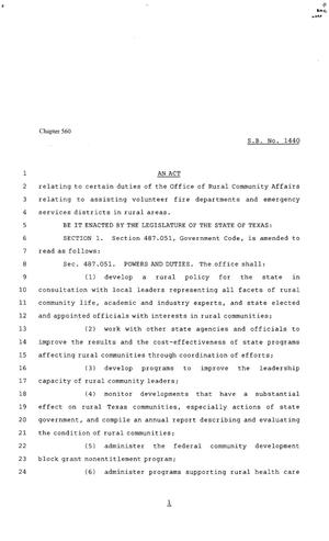 Primary view of object titled '80th Texas Legislature, Regular Session, Senate Bill 1440, Chapter 560'.