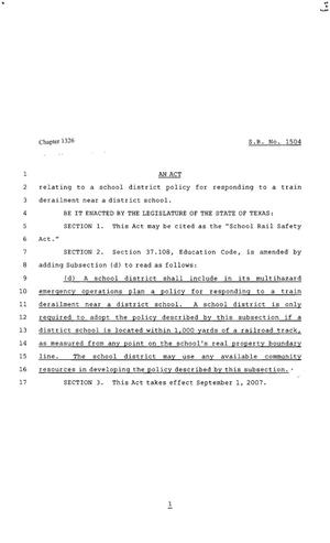 Primary view of object titled '80th Texas Legislature, Regular Session, Senate Bill 1504, Chapter 1326'.