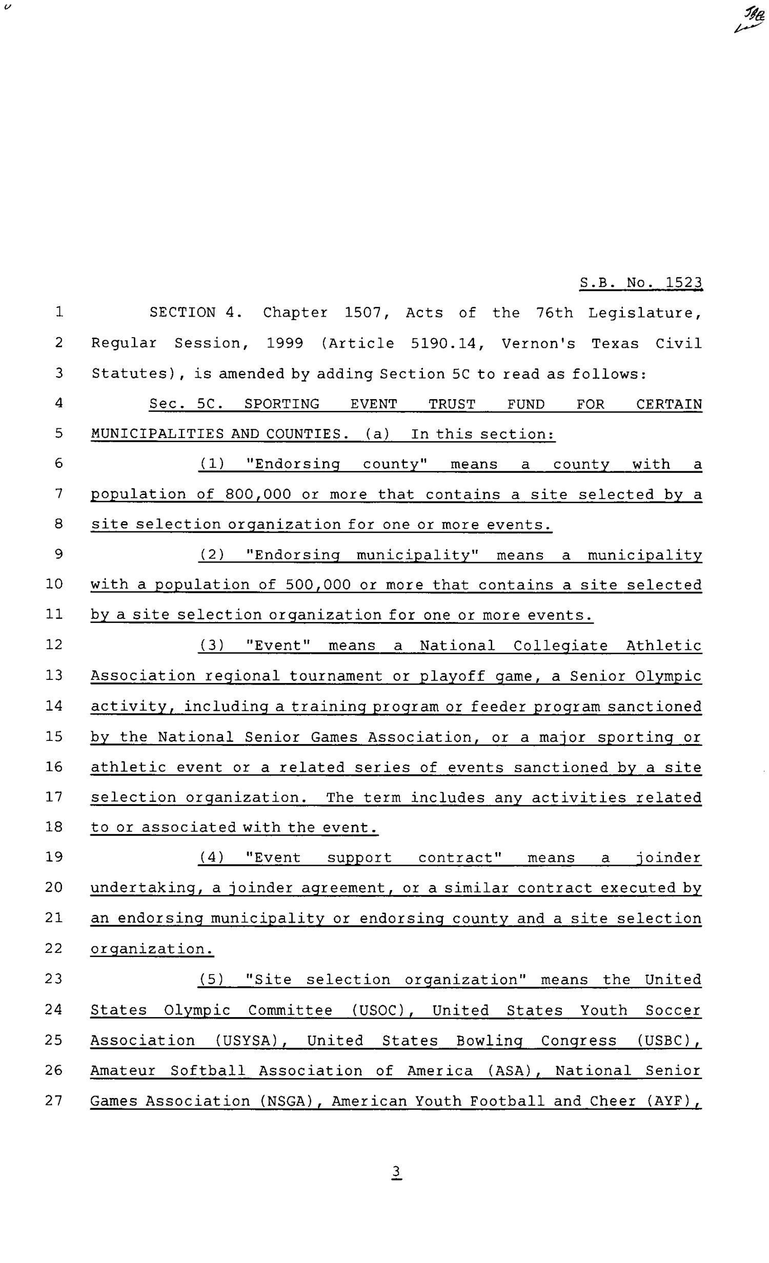 80th Texas Legislature, Regular Session, Senate Bill 1523, Chapter 1426                                                                                                      [Sequence #]: 3 of 12