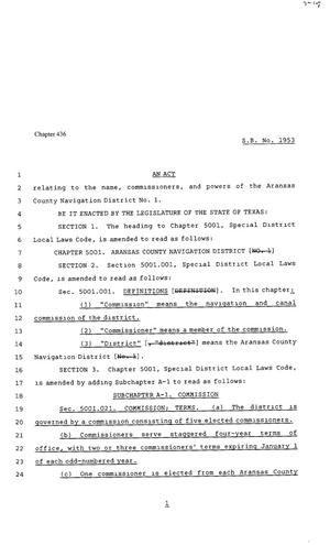 Primary view of object titled '80th Texas Legislature, Regular Session, Senate Bill 1953, Chapter 436'.