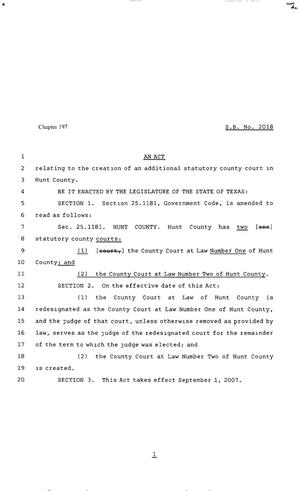 Primary view of object titled '80th Texas Legislature, Regular Session, Senate Bill 2018, Chapter 197'.