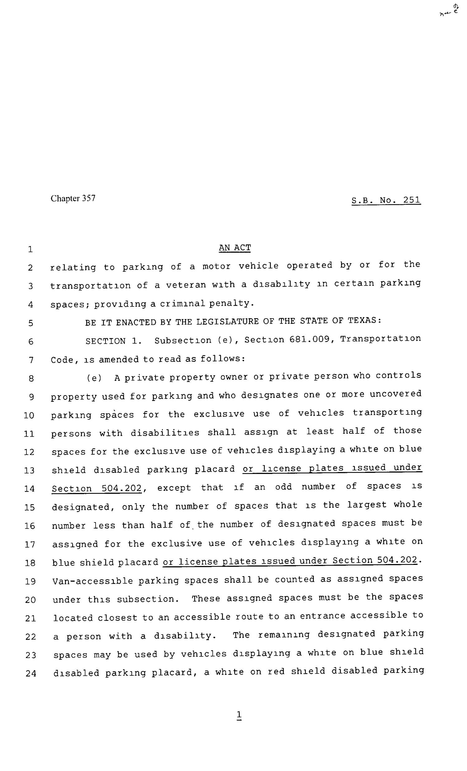 80th Texas Legislature, Regular Session, Senate Bill 251, Chapter 357                                                                                                      [Sequence #]: 1 of 3