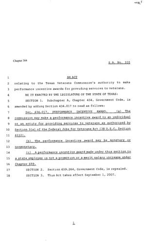Primary view of object titled '80th Texas Legislature, Regular Session, Senate Bill 310, Chapter 364'.