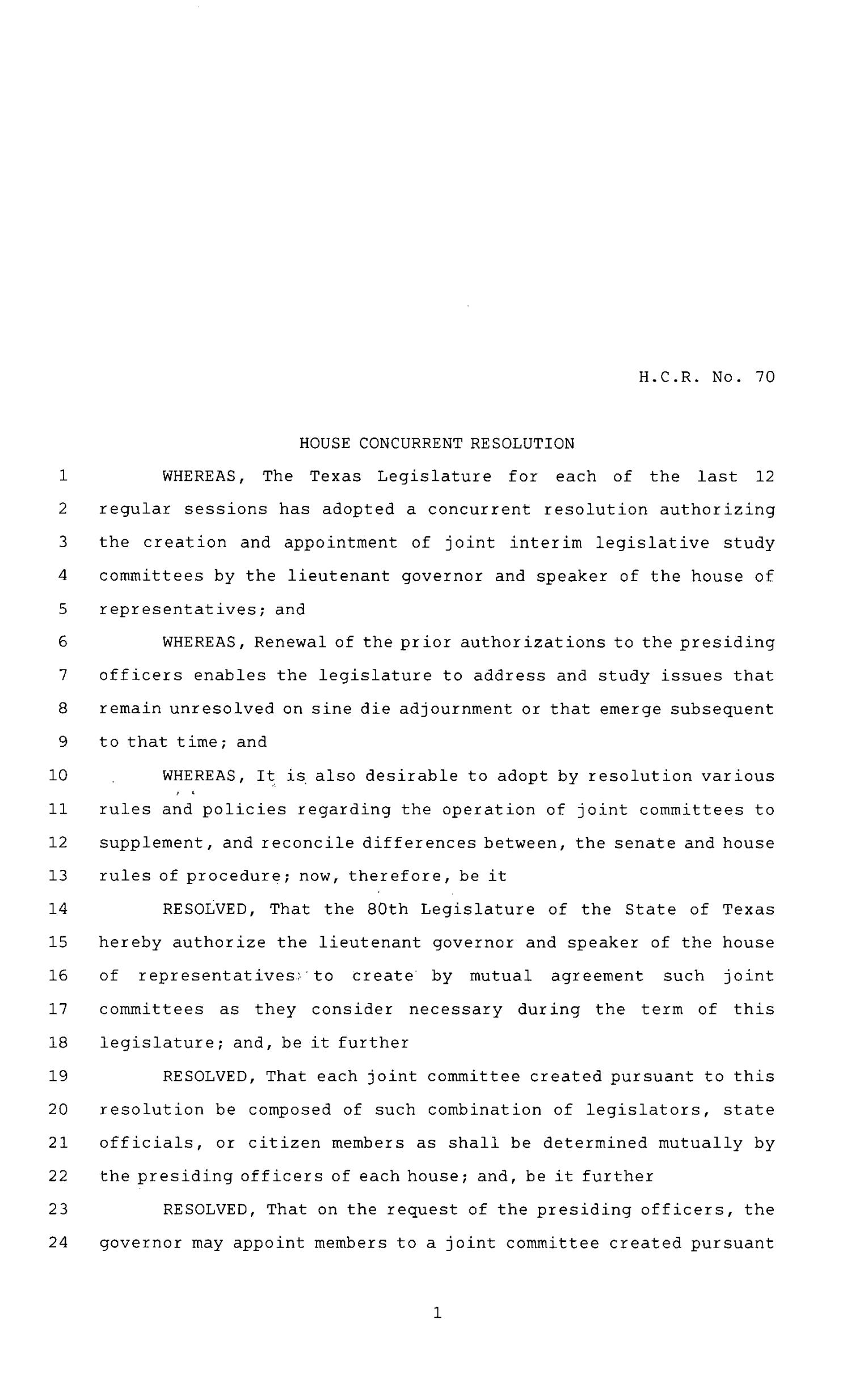 80th Texas Legislature, Regular Session, House Concurrent Resolution 70                                                                                                      [Sequence #]: 1 of 7